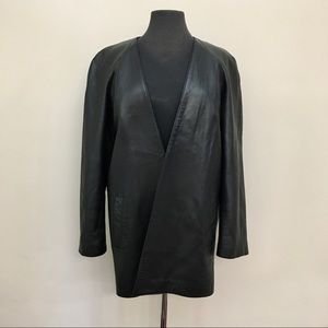 DANIER Open Front Black Leather Jacket Small